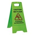 """Picture of Sign Green -  Caution Wet Floor - Cleaning in Progress """"A"""" Frame-CLEA384553- (EA)"""