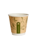 Picture of 8oz Biodegradable Double Wall Kraft Coffee Cup - Leaf Design-BIOD076210- (SLV-25)
