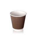 Picture of 8oz Ripple Wall Brown Check Design Coffee Cup-HCUP109928- (SLV-25)